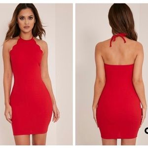 PrettyLittleThing Tabby Red Scallop Bodycon Dress